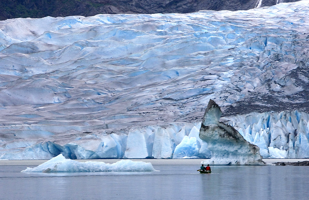 Kayaking on glacier